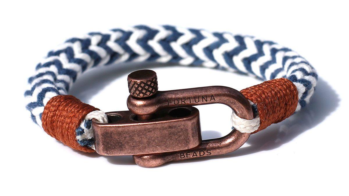 Nautical C3 Copper White Blue Bracelet Product Image Front