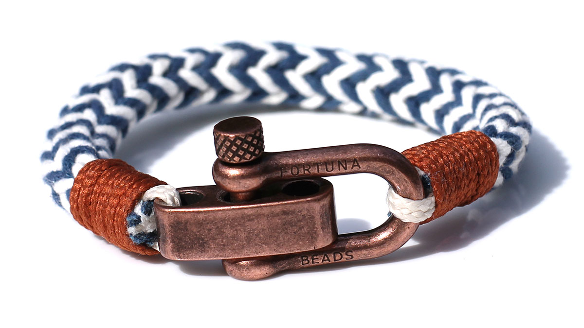 Nautical C3 Copper White Blue Bracelet Product Image Front