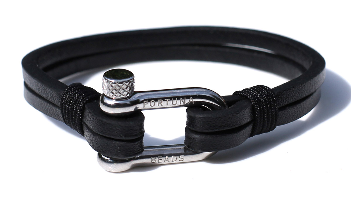 Nautical L1 Steel Black Bracelet Product Image Front