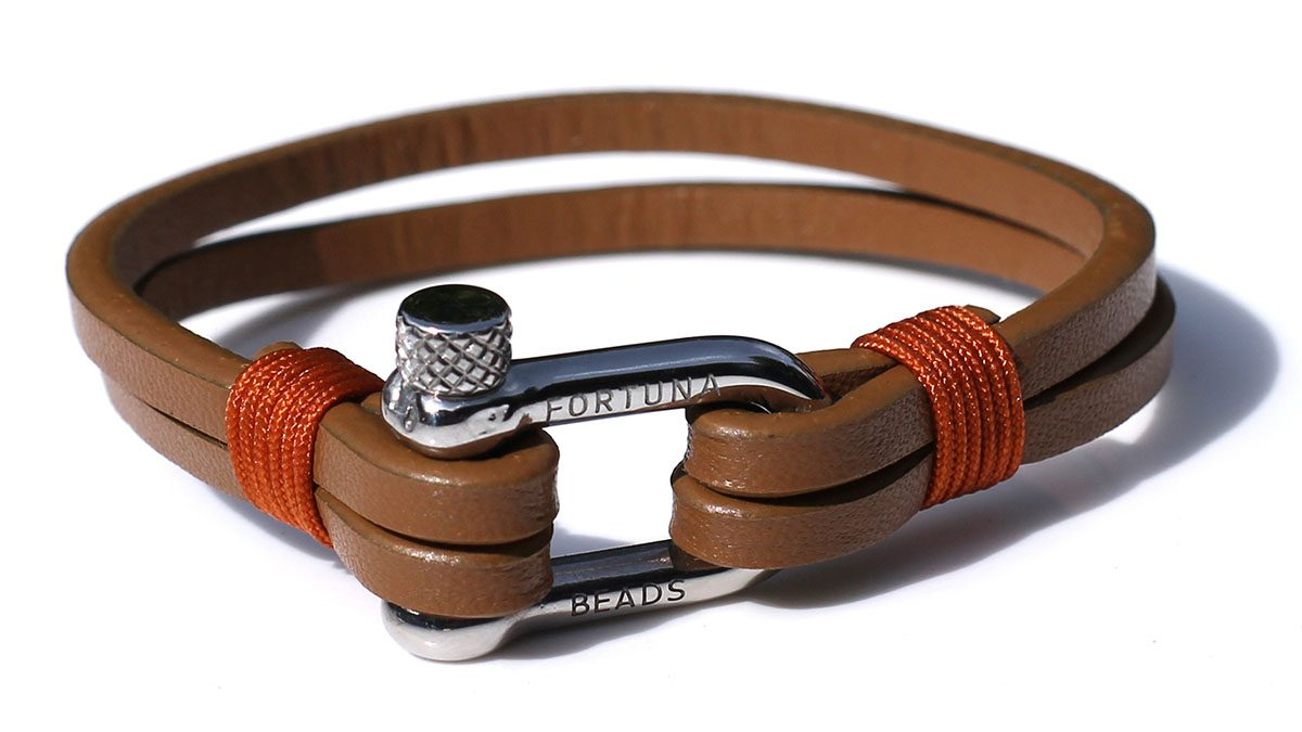 Nautical L4 Steel Cognac Bracelet Product Image Front