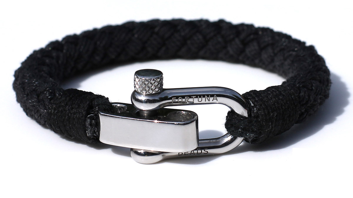 Nautical S2 Steel Black Rope Bracelet Product Image Front