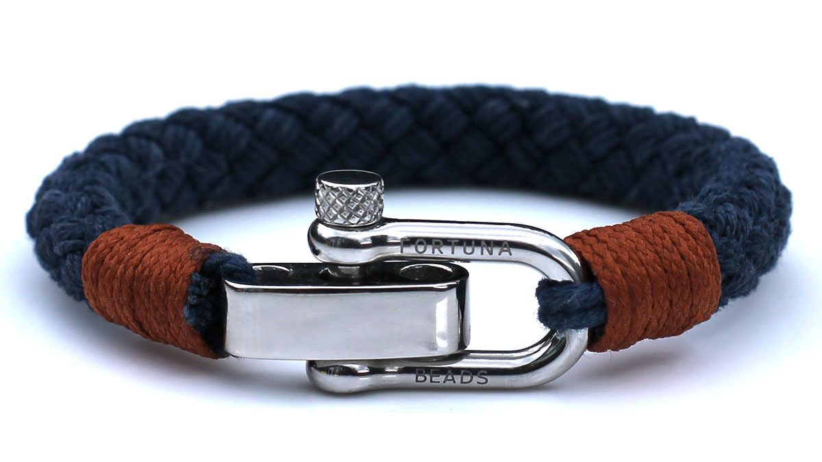 Nautical S3 Steel Blue Rope Bracelet Product Image Front