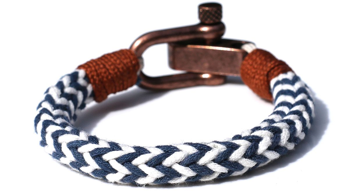 Nautical C3 Copper White Blue Bracelet Product Image Back