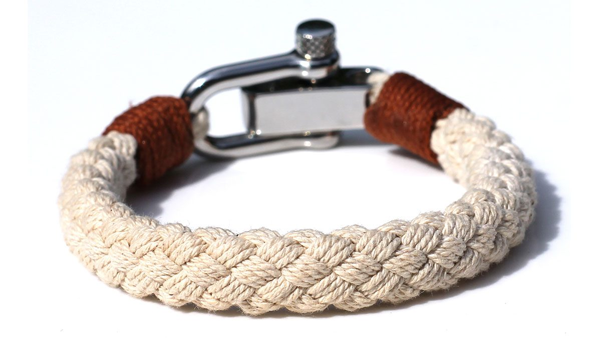 Nautical S1 Steel Sand Rope Bracelet Product Image Back