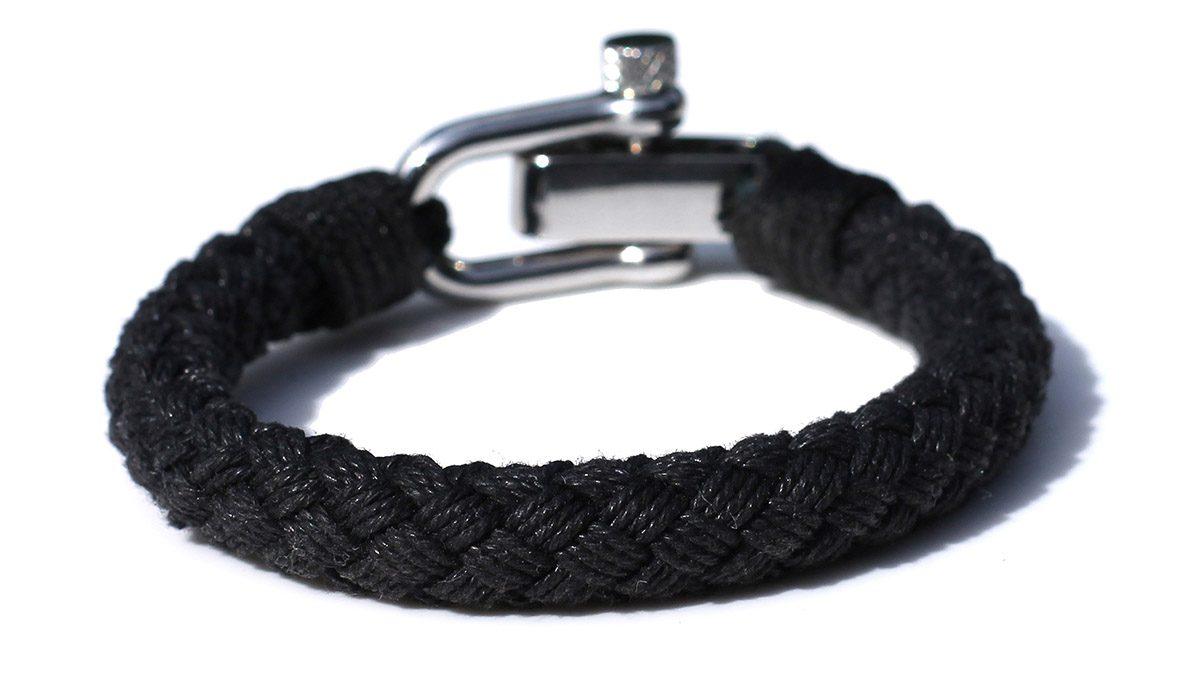 Nautical S2 Steel Black Rope Bracelet Product Image Black