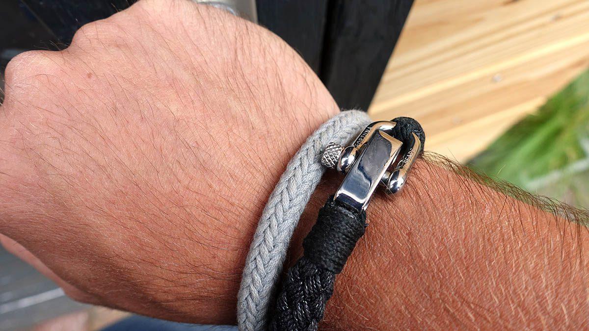 Nautical S2 Steel Black Rope Bracelet Setting 1