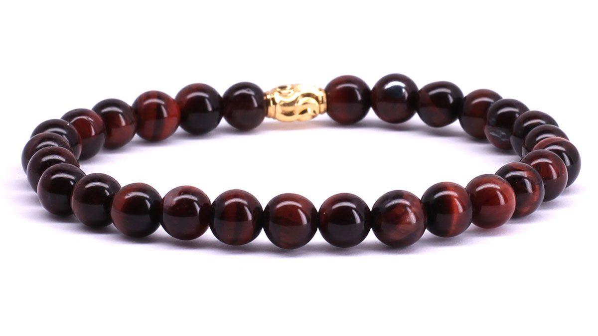 FortunaBeads Premium Red Tiger Eye bracelet Back image