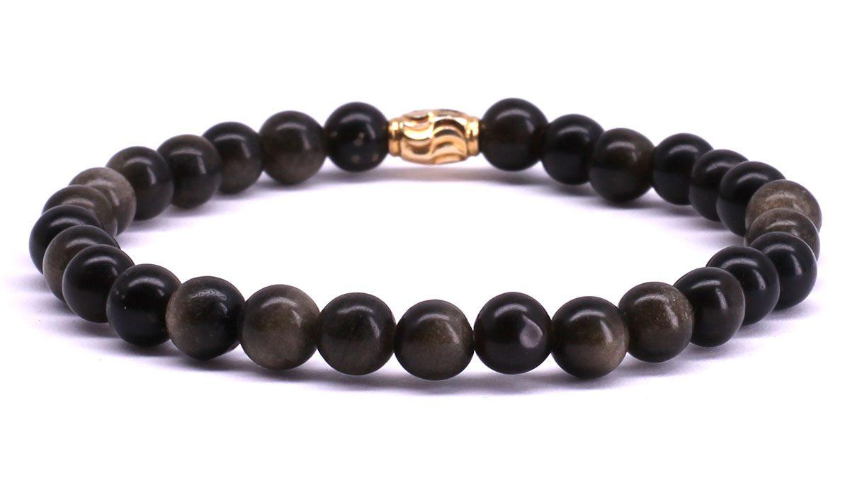 FortunaBeads Premium Gold Sheen Obsidian bracelet Back image