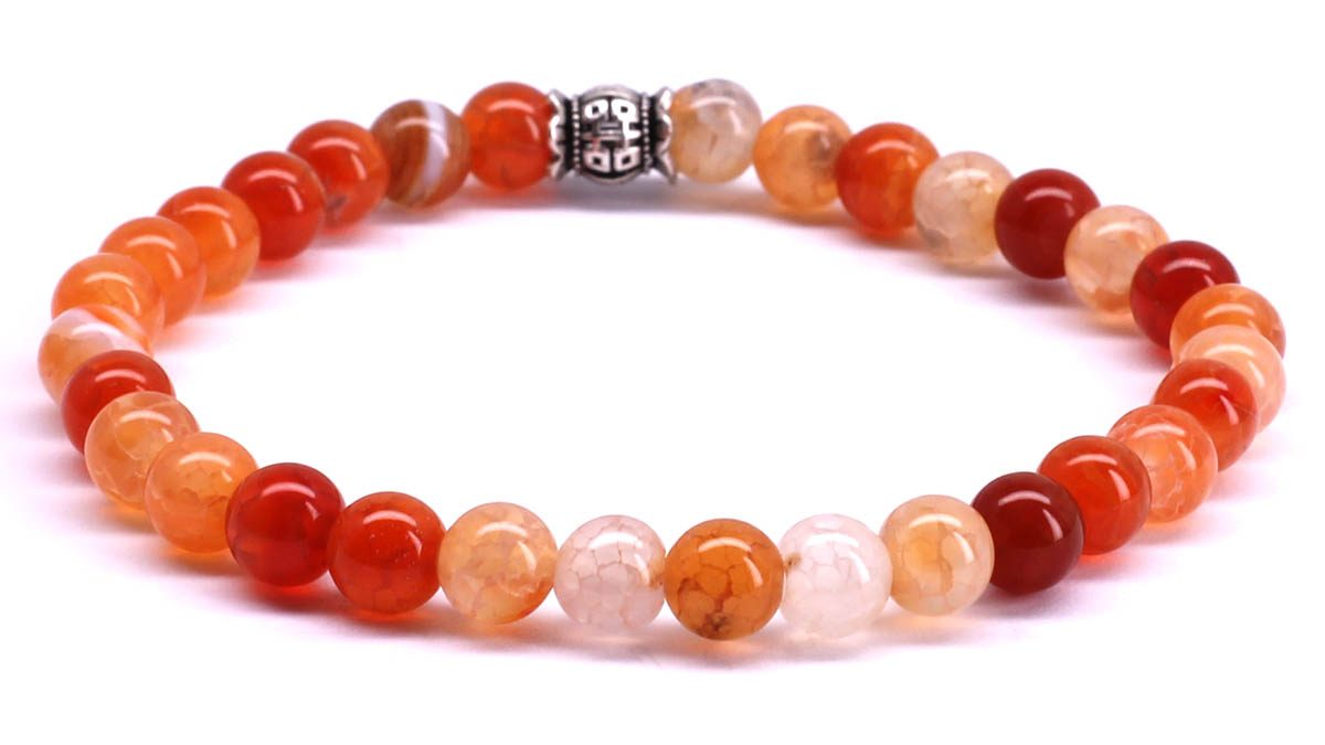 FortunaBeads Candy Red Ice Agate bracelet Back image