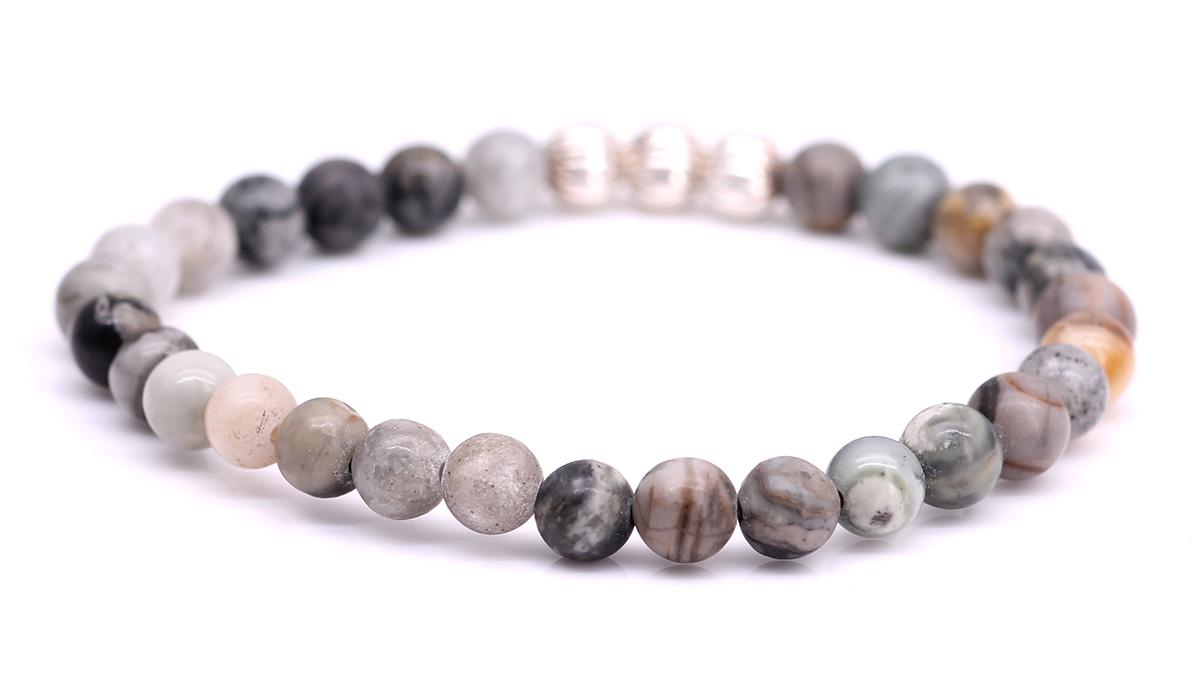 Minimal Grey Picasso Jasper bracelet Product image back