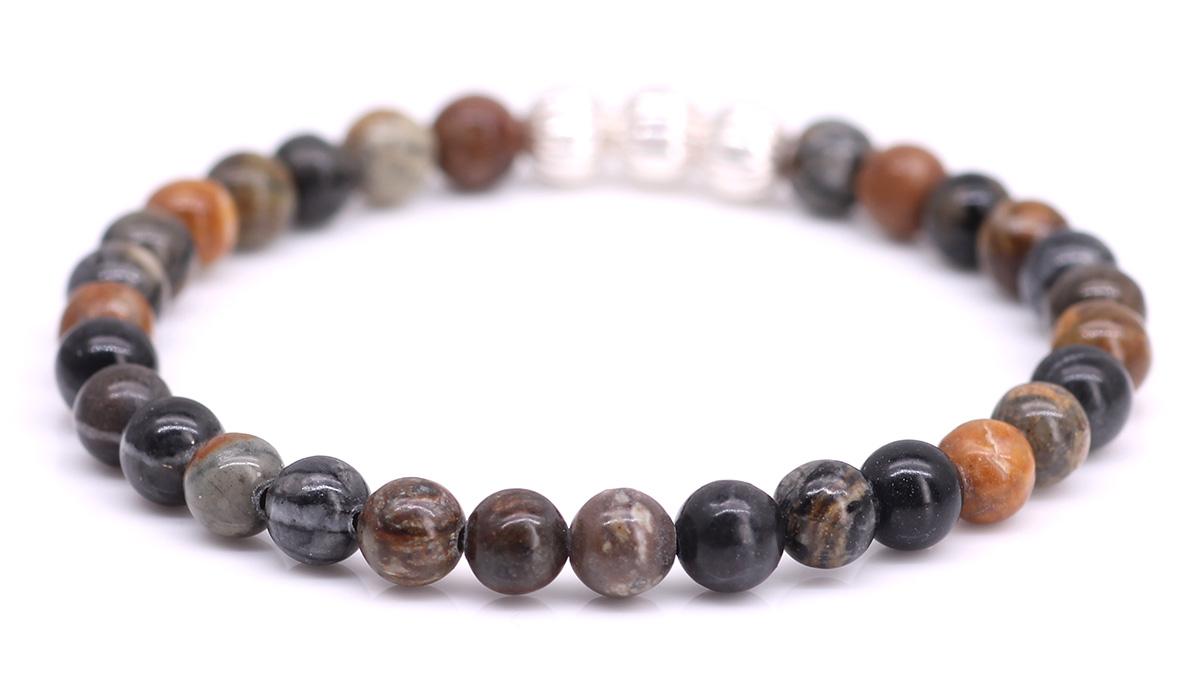 Minimal Brown Picasso Jasper bracelet Product image back