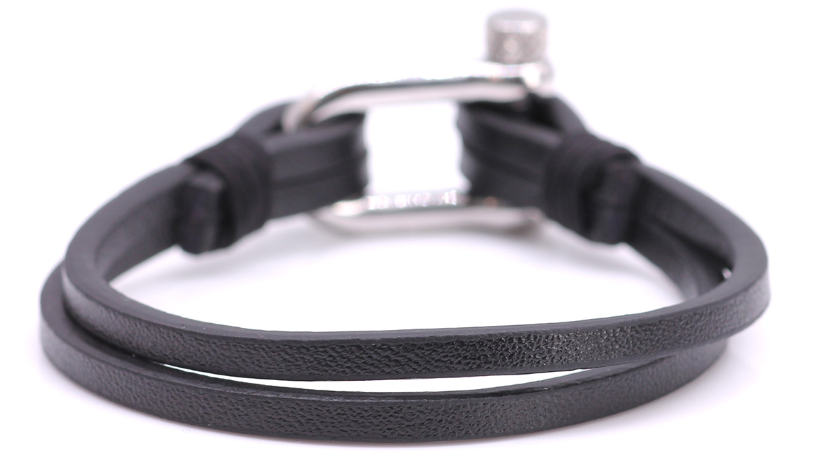 Nautical L1 Black Leather bracelet Product image back