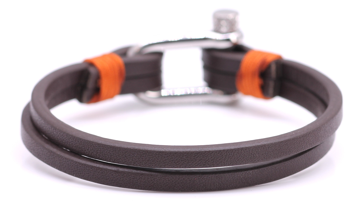 Nautical L2 Brown Leather bracelet Product image back