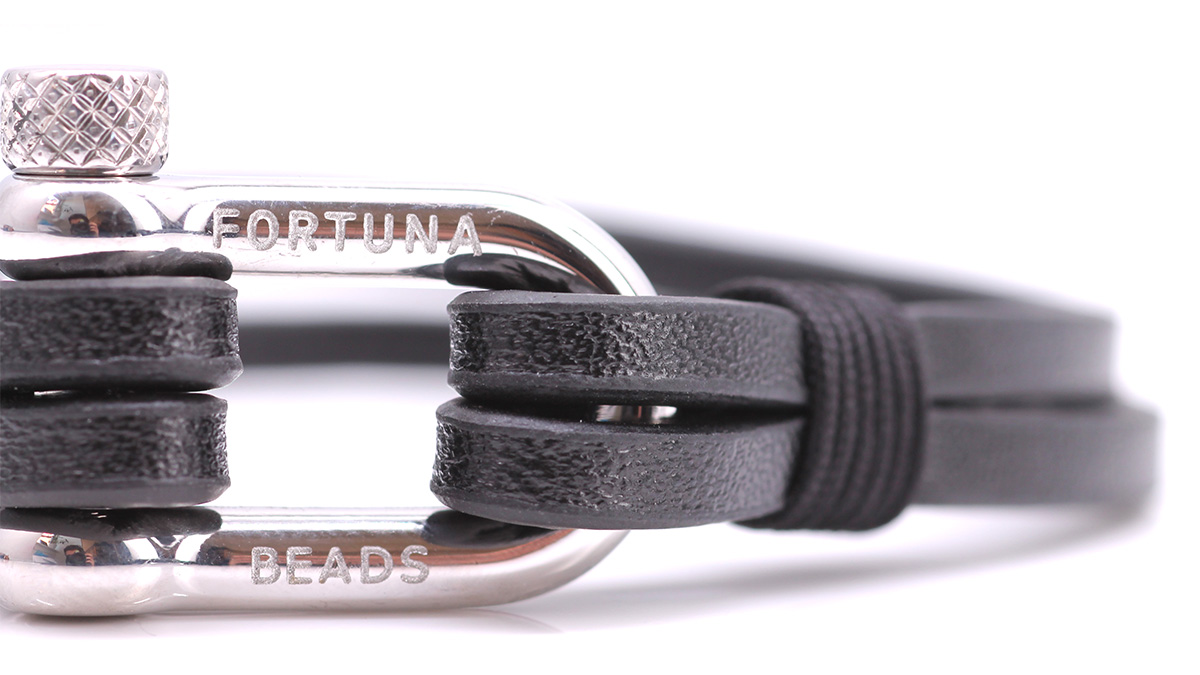 Nautical L1 Black Leather bracelet Product image clasp