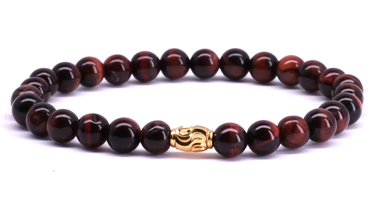 FortunaBeads Premium Red Tiger Eye bracelet Front image