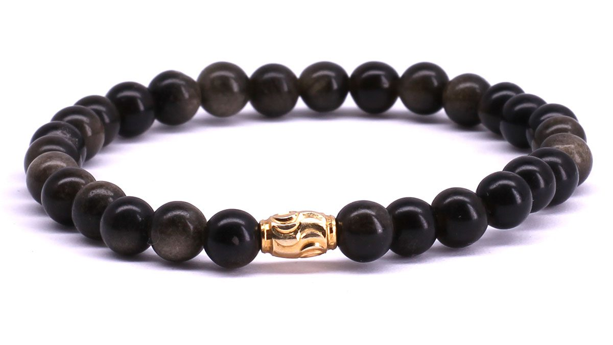 FortunaBeads Premium Gold Sheen Obsidian bracelet Front image
