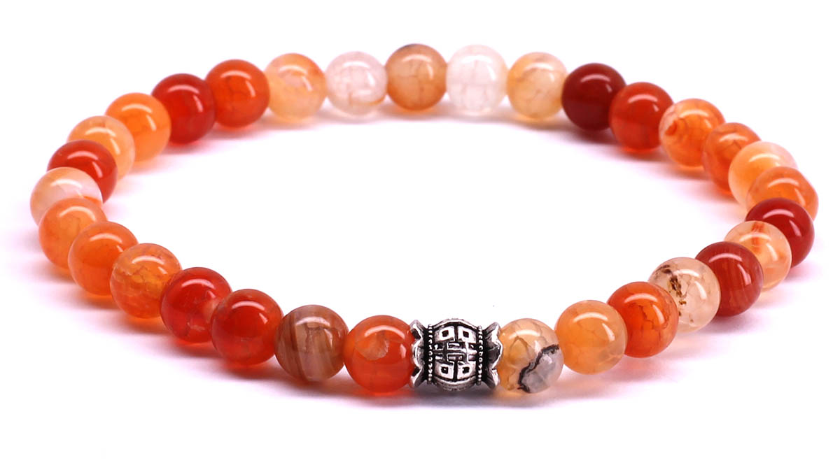 FortunaBeads Candy Red Ice Agate bracelet Front image