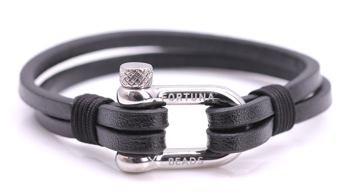 Nautical L1 Black Leather bracelet Product image front