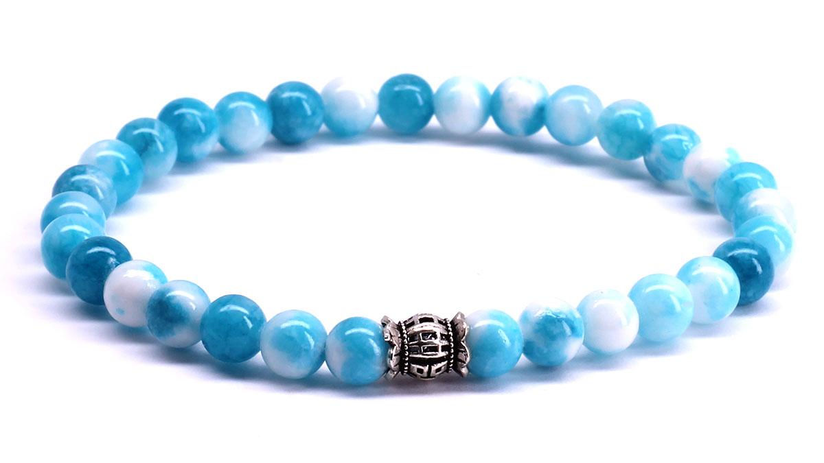 FortunaBeads Candy Jade Dodger Blue bracelet Front image