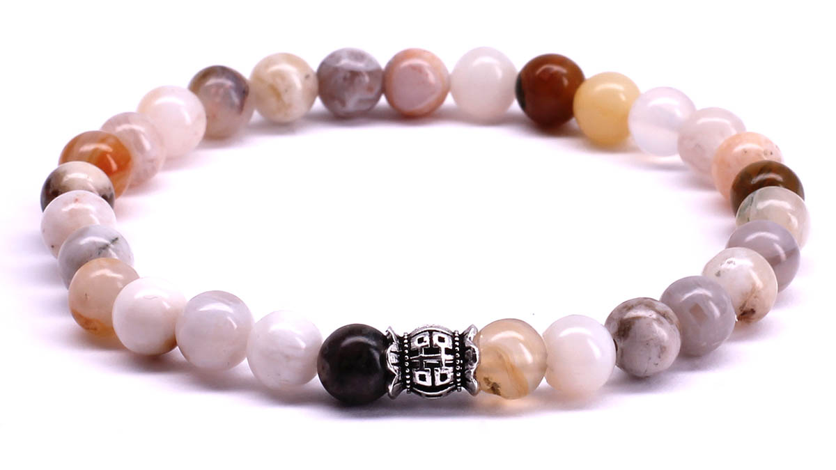 FortunaBeads Candy Bamboo Leaf Agate bracelet Front image