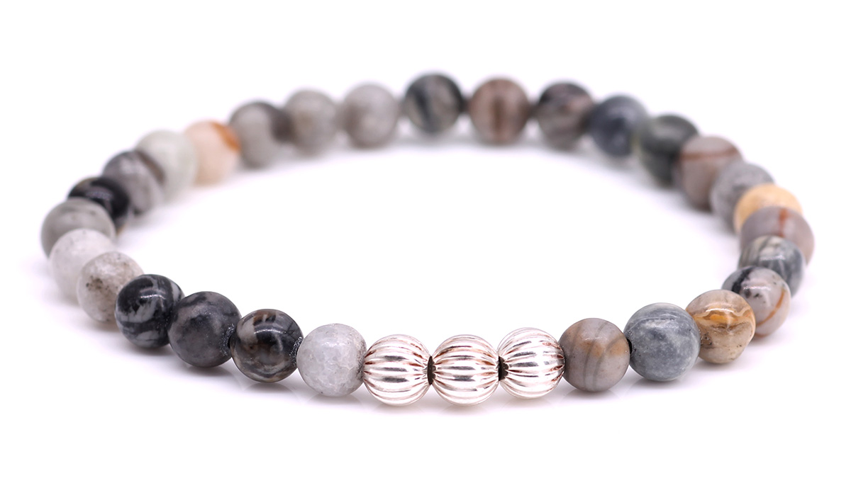 Minimal Grey Picasso Jasper bracelet Product image front