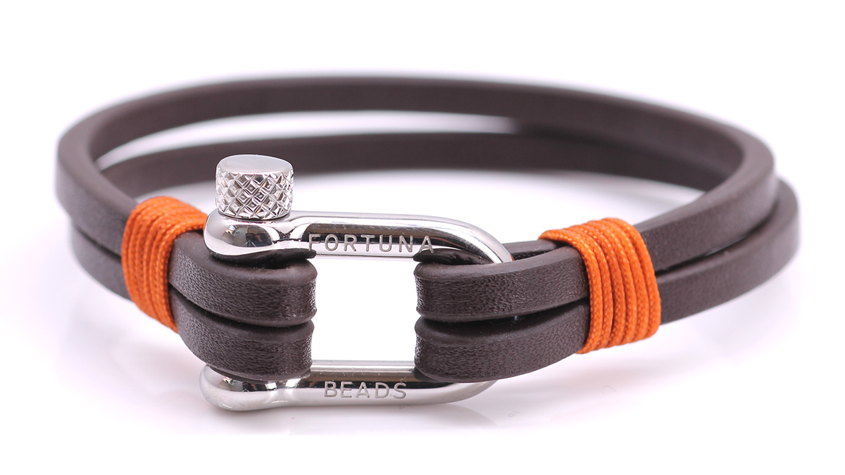 Nautical L2 Brown Leather bracelet Product image front