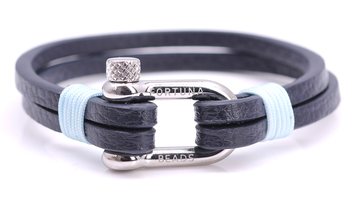 Nautical L3 Blue Leather bracelet Product image front