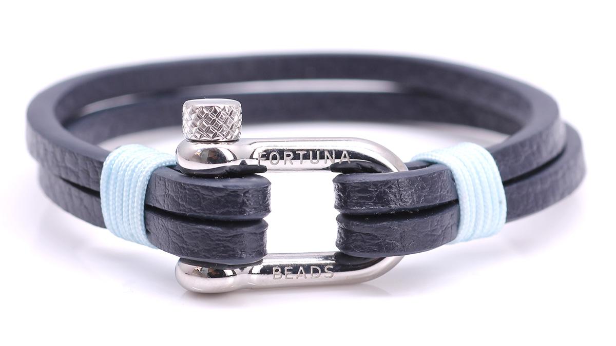 Nautical L3 Blue Leather bracelet Product image front