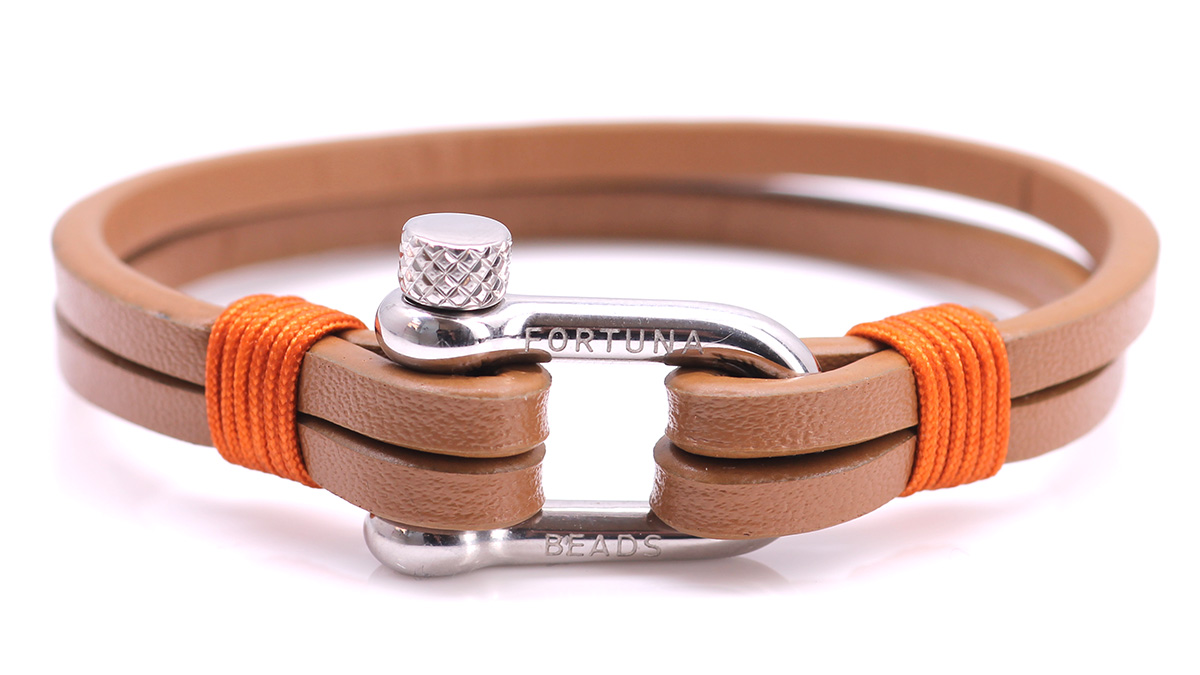 Nautical L4 Cognac Leather bracelet Product image front