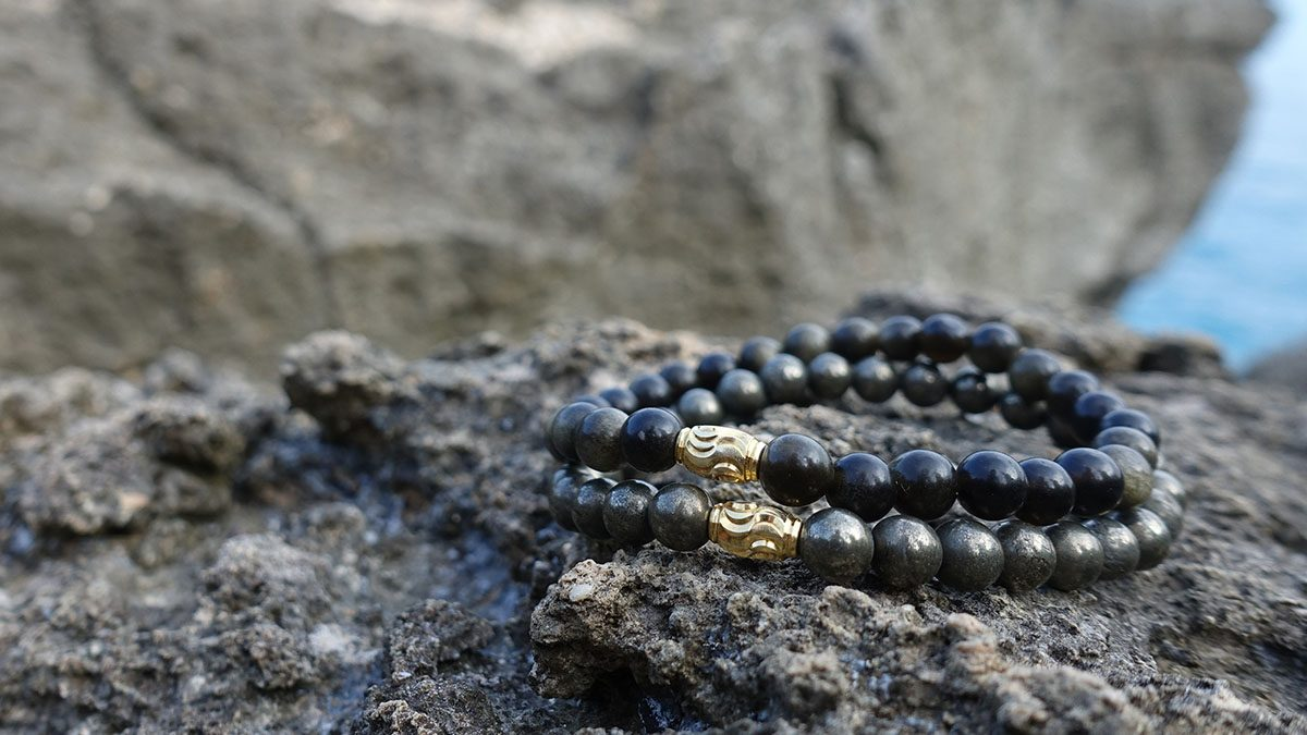Premium Pyrite x Gold Sheen Obsidian Setting 1