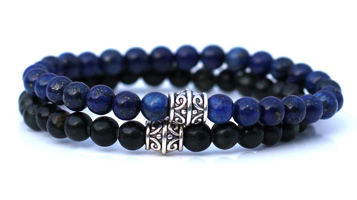 Lapis Lazuli and Green Jasper Stone bracelet set