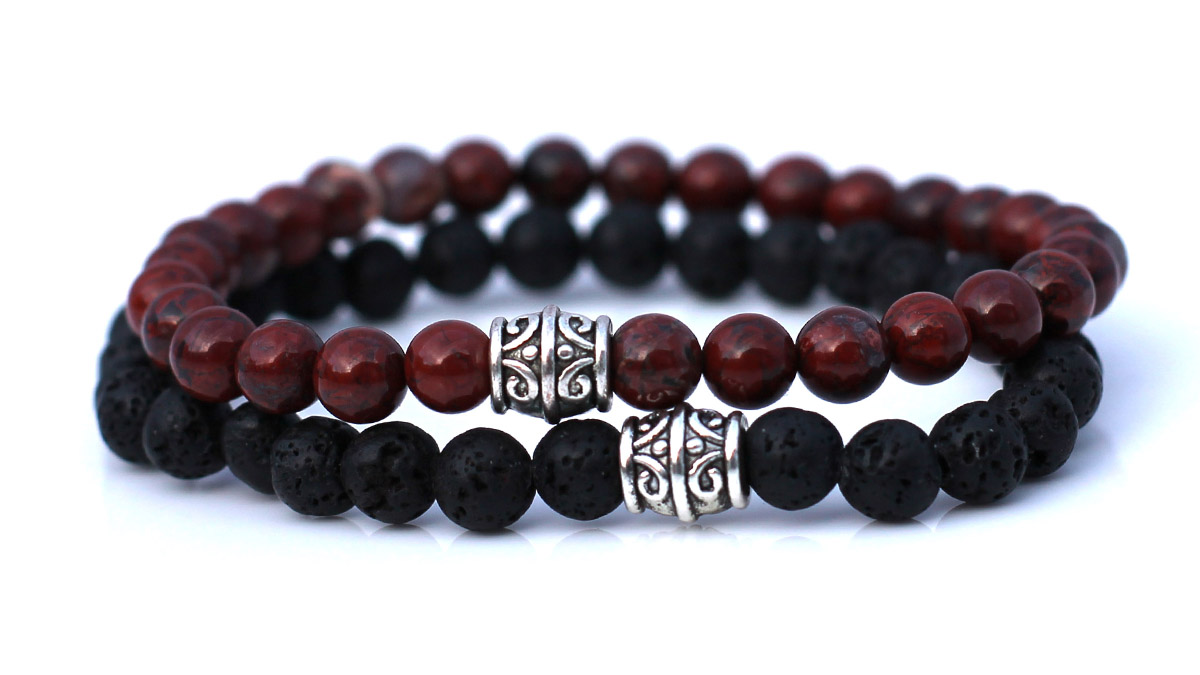 Lava Stone Red Agate Bracelet Set