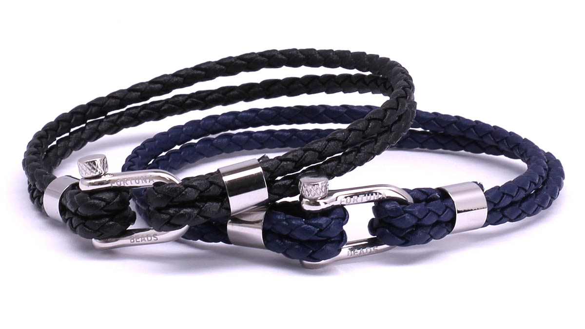FortunaBeads Nautical M1+2 Black & Blue leather bracelets Front image