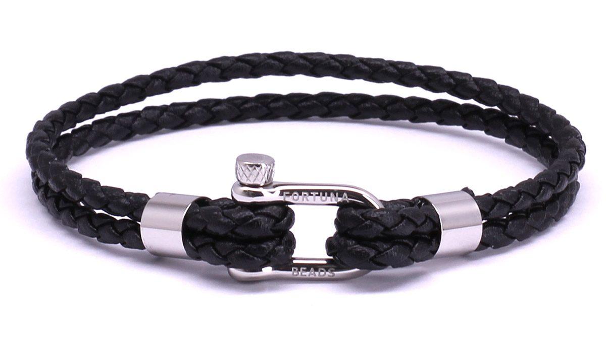 FortunaBeads Nautical M1 Black leather bracelet Front image