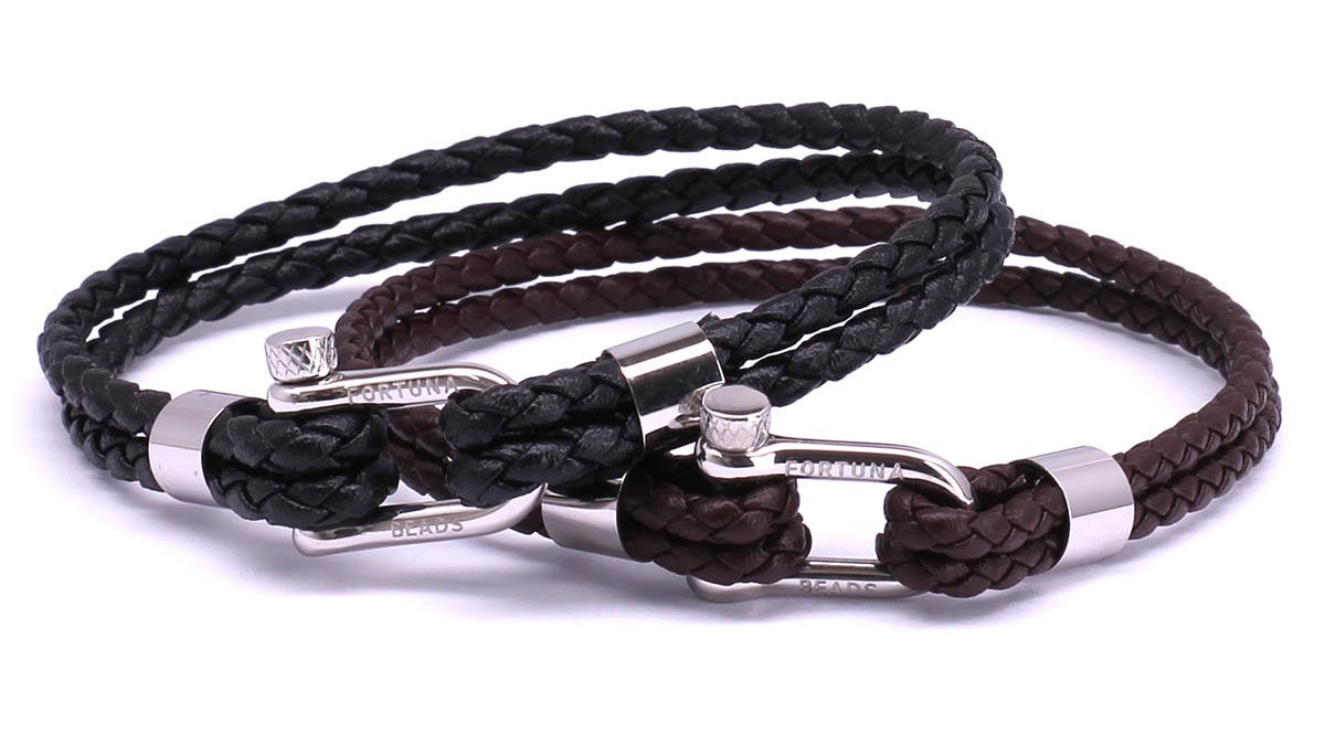 FortunaBeads Nautical M1+3 Black & Brown leather bracelets Front image