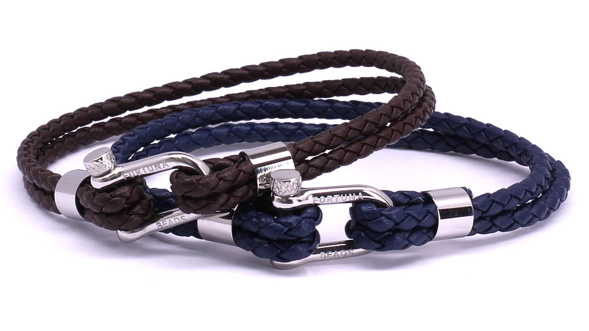 FortunaBeads Nautical M2+3 Blue & Brown leather bracelets Front image