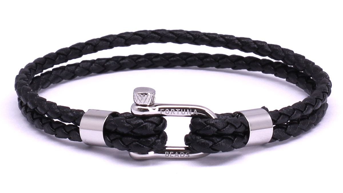 FortunaBeads Nautical M1 Black leather bracelet Front image
