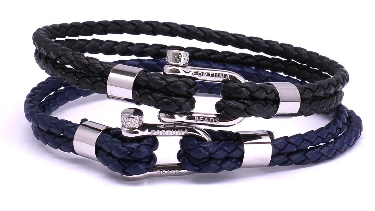 FortunaBeads Nautical M1+2 Black & Blue leather bracelets Front image