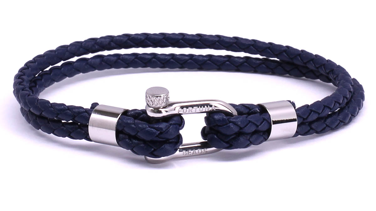 FortunaBeads Nautical M2 Blue leather bracelet Front image
