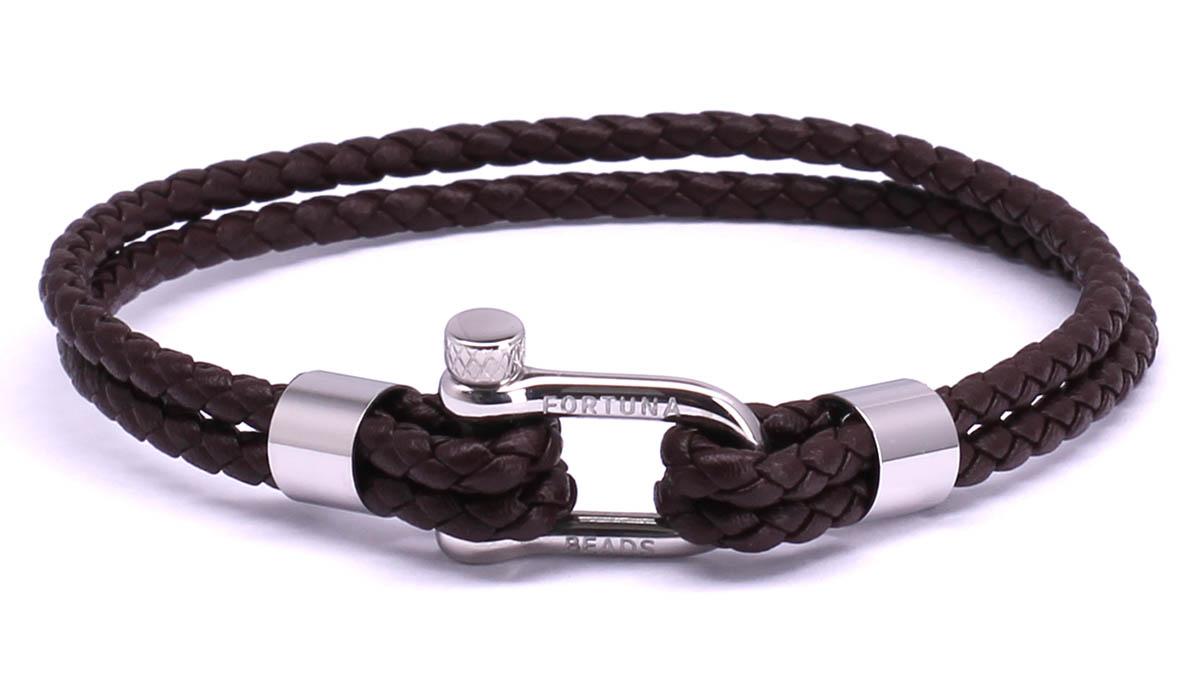 FortunaBeads Nautical M2 Brown leather bracelet Front image