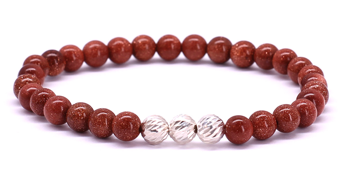 Premium for her bracelet Red Peach Goldstone Front