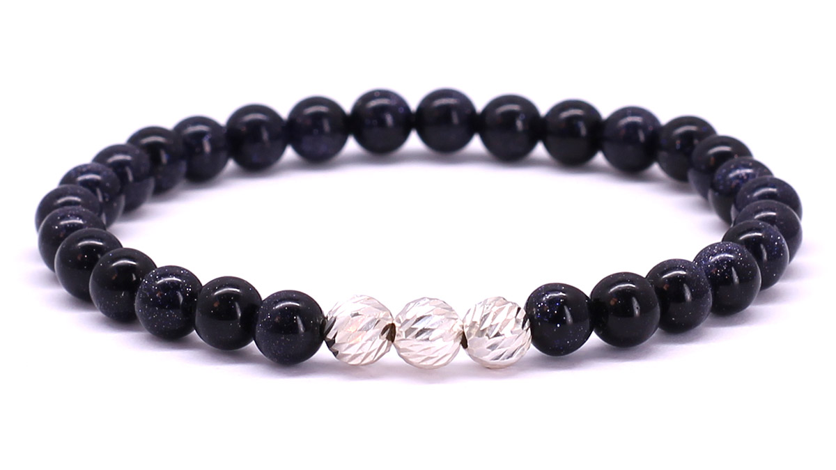 Premium for her bracelet Blue Goldstone Front