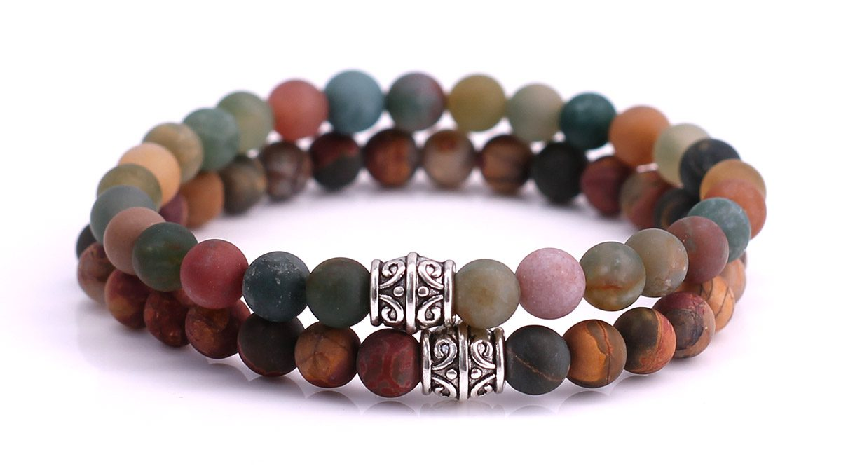 Red Picture Jasper x Indian Agate Bracelet set FortunaBeads