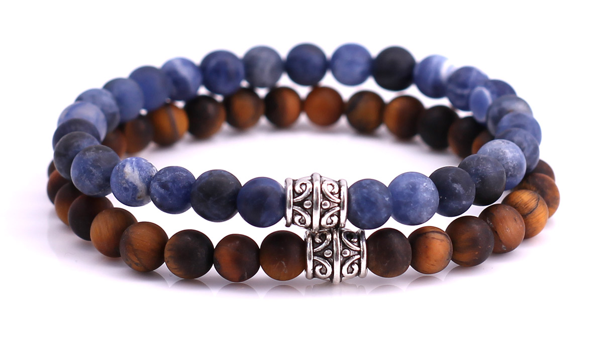 Blue Sodalite x Brown Tiger Eye Bracelet set FortunaBeads