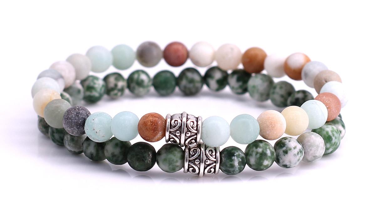 Amazonite x Green Spot Stone Bracelet set FortunaBeads
