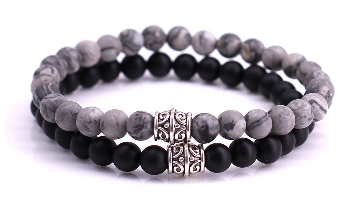 Black Onyx x Netstone Bracelet set FortunaBeads