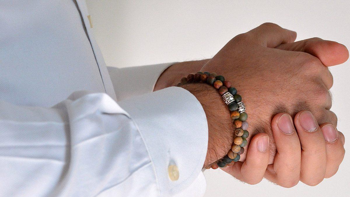 Red Picture Jasper x Indian Agate Mat Bracelets Setting 1