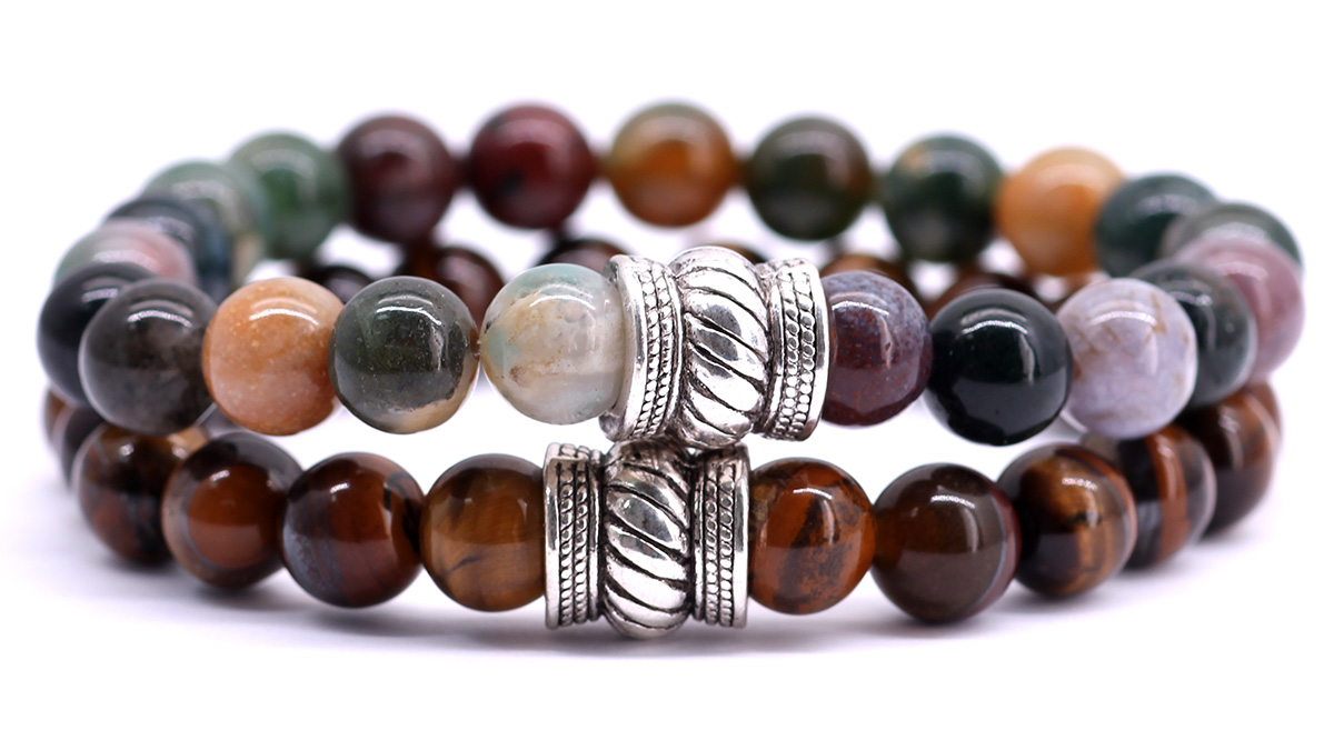 FortunaBeads Indian Agate and brown tiger eye bracelet set front image
