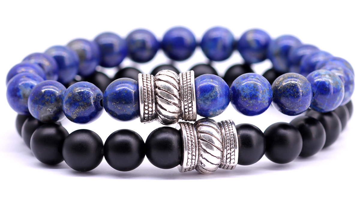 Bali Lapis lazuli x black onyx bracelet set by fortunabeads front image