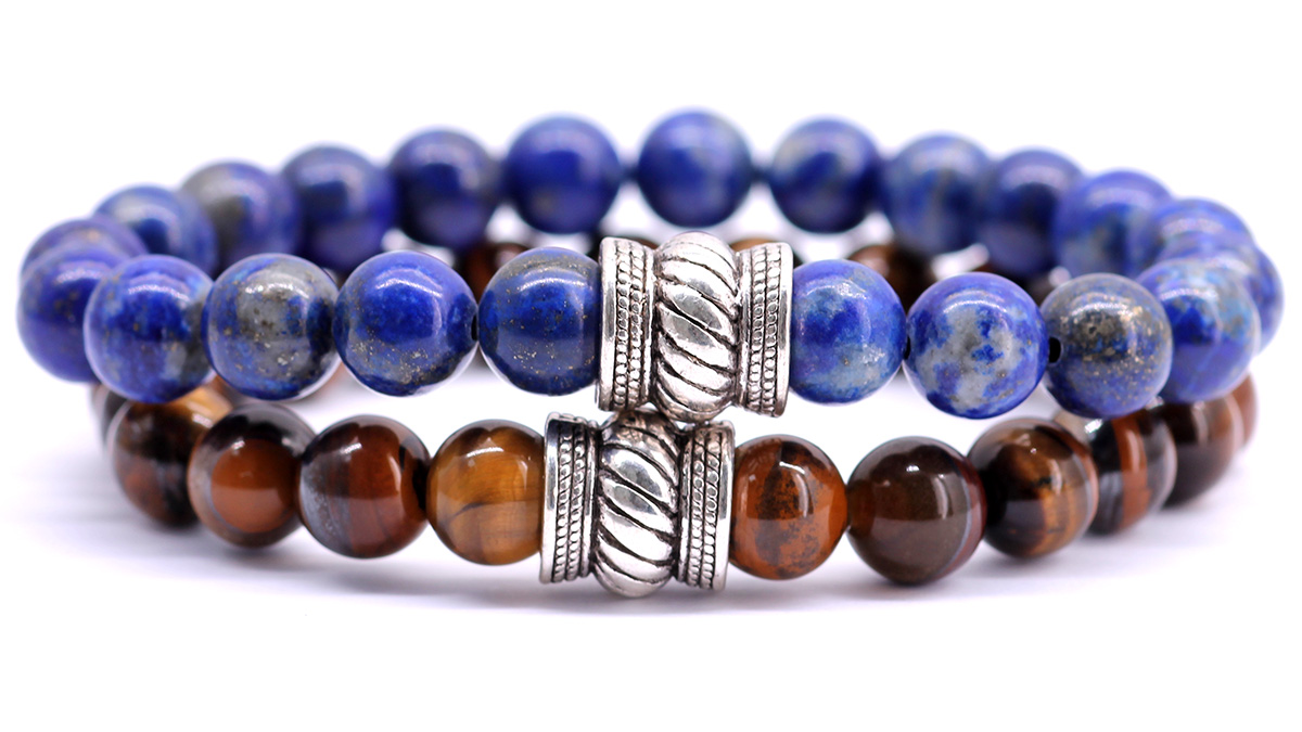 lapis lazuli x brown tiger eye bracelet set front image